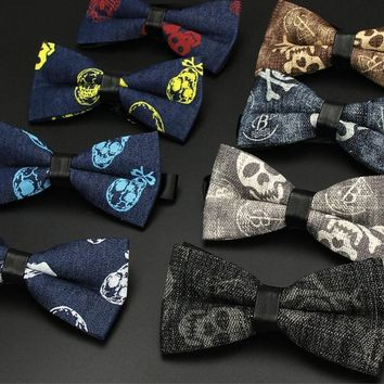 Classic Skull Printed Bow Tie