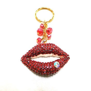 Red Crystal Rhinestone Lips Charm/Keyring, Red Lips Charm, Red Crystal Keyring, Gold Key Chain, Sparkle Lips Keyring, Red Crystal Bag Charm