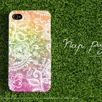 Apple iphone case for iphone iPhone 5 iphone 5s iphone 4 iphone 4s iphone 3Gs : Vintage white floral on green sky with colorful background