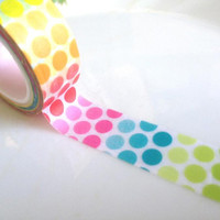 Rainbow polka dots Washi Tape colorful dot Masking Tape polka dots tapes sticker lovely dots sticker kids party decor tape scrapbook