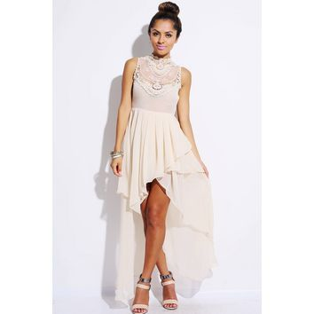Beige lace inset high neck ruffle chiffon high low party dress -AFFORDABLE SEXY PARTY DRESSES, CLUBWEAR 21