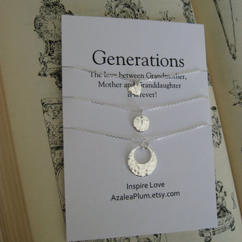 Grandmother. GENERATIONS Necklace. Grandmother MOTHER Daughter Necklace. Mom Daughter Jewelry. Gift for Her. Mom Jewelry. New Mom Gift.
