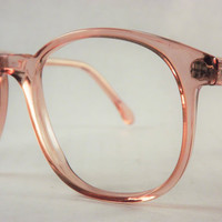 Preppy Eyeglasses, Big 1980s Translucent Copper Pink Glasses, Vintage Womens Eyeglasses, New Old Stock