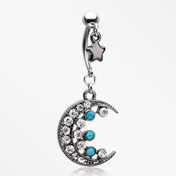 Star Dangle Sparkle Crescent Moon Belly Button Ring