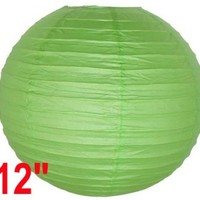 "Light Green Chinese/Japanese Paper Lantern/Lamp 12"" Diameter - Just Artifacts Brand"