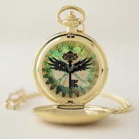 Steampunk Winged Key and Cog Wheel Pocket Watch