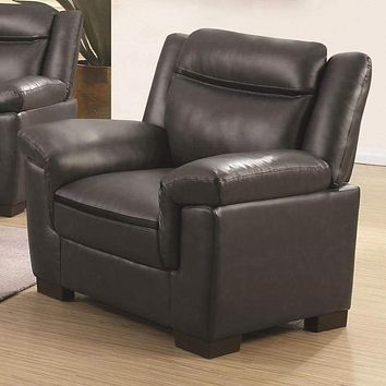 Contemporary Faux Leather & Wood Chair With Cushioned Armrests, Black
