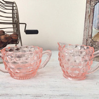 Vintage Pink Cream & Sugar Set / Indiana Glass Company / Pink Cubist Depression Glass Set