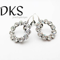 Swarovski Crystal Lever Back Circle Earrings, Bridal, Round, DKSJewelrydesigns, FREE SHIPPING