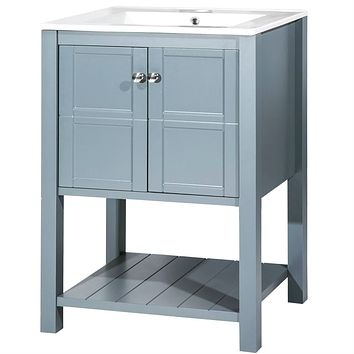 Grey 24-inch Bathroom Vanity Cabinet with White Ceramic Sink