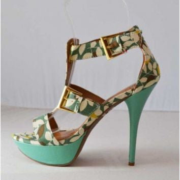 Trendy Clothing, Fashion Shoes, Women Accessories | Miss Me Sonic 7 Floral Green T-Strap Sandal  | LoveShoppingMiami.com