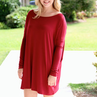 Piko Tunic Dress - Burgundy