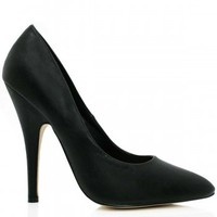 ABIGAIL Stiletto Heel Pointed Toe Court Shoes - Black Leather Style