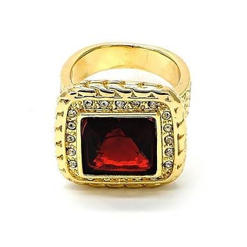 Gold Layered Mens Ring, with Cubic Zirconia and Crystal, Golden Tone
