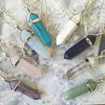 Crystal Pendant Necklaces with multiple stone choices