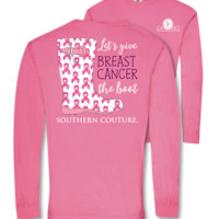 Southern Couture Give Breast Cancer The Boot Comfort Colors Long Sleeve T-Shirt
