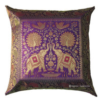 Vintage Indian Elephant Peacock Silk Brocade Throw Pillow Sham