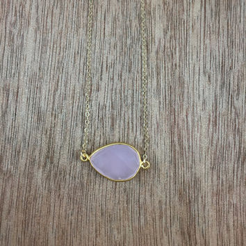 14k gold filled necklace with a 18k gold vermeil pink chalcedony bezel connector / bridesmaid / dainty / minimalist / May birthstone