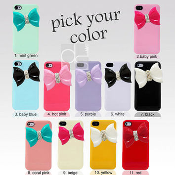 1 PC X Apple iPhone 4 S 4S 4G 4GS G 4th Gen Case -Big Bow Ribbon Bling Rhinestone Gems Hard Back Plastic Back Hard Skin Cover (B1C.A)