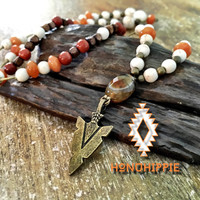 Boho hippie necklace, native american areowhead jewelry