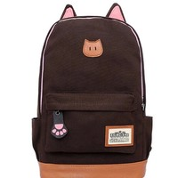 Moolecole Leather & Canvas Backpack School Bag Laptop Backpack with Cat's Ears Design (Coffee)