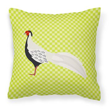 Silver Pheasant Green Fabric Decorative Pillow BB7755PW1414
