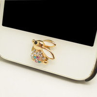 1PC Bling Crystal Rabbit iPhone Home Button Sticker Charm for iPhone 4,4s,4g,5,5c Cell Phone Charm Friend Gift