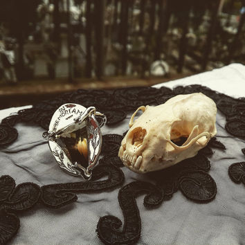 In Memoriam, Victorian Mourning Inspired Hand Crafted Silver and Topaz Coffin Cut Gemstone Ring, Victorian Goth Jewelry - Moon and Serpent