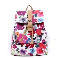 Womens Vintage Floral Pattern Print Leather Backpack