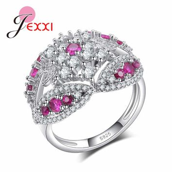 JEXXI 2 Color White/Fuchsia Crystal Ladies Bijoux Fashion Hollow Engagement Anel Pure 925 Sterling Silver Jewelry Finger Rings