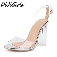 DiJiGirls women Open toe sandals ladies pumps thick high heels shoes woman Crystal Clear Transparent ankle strap wedding shoes