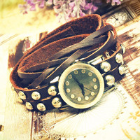 Wrist watch Handmade Wristwatches Vintage Ladies Girls Womens Mens Leather Bangle Studded Bracelet Quartz (WAT0002)