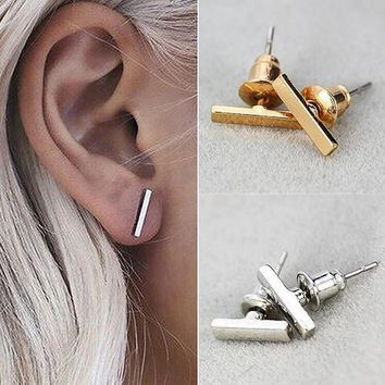 Geometric Simple T Bar Charm Studs Earrings 1 Pair