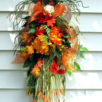 Double door swags, Fall door wreath, door swag, Rustic wreath, Autumn wreath, Fall door decor, fall swag, wreaths and swags, country swags