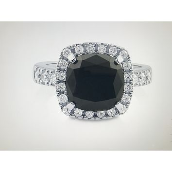 A Perfect Black 5.4CT Cushion Cut Halo Russian Lab Diamond Engagement Ring