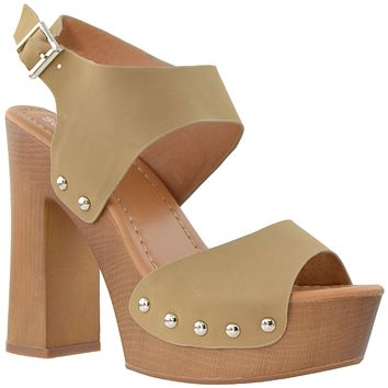 Womens Platform Sandals Slingback Open Toe Studded Wood Chunky High Heel Shoes Taupe