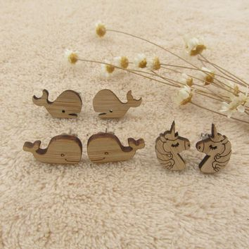 2018 Trendy Wood Whale Stud Earrings For Woman Cute Unicorn Head Wooden Post Earring Jewerly