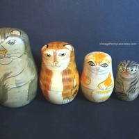 Cat Nesting Dolls, Tole Painted Wood, Hand Painted Wood Nesting Boxes