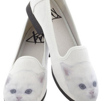 Feline Fortunate Flat in White | Mod Retro Vintage Flats | ModCloth.com