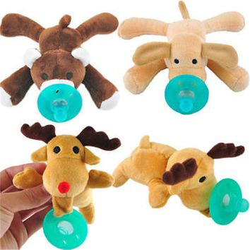 Cute!!! Hot sale!!! New 1Pc Infant Silicone Pacifiers Cuddly Plush Animal Baby