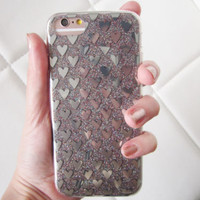 US seller iPhone 7 case clear glitter silver metallic heart print hearts popular