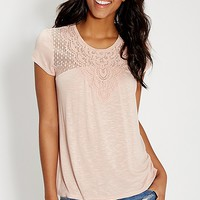 tee with crochet and dot lace yoke | maurices