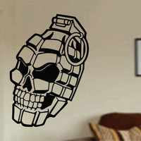 Grenade Skull Decal Sticker Wall Vinyl Kids army marines weapon war funny