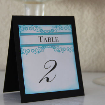 Handmade Table Numbers, Tiffany Inspired, Blue and Black, Wedding, Special Event, Reception, Tented