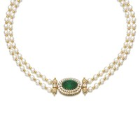 Cultured pearl, emerald and diamond necklace | Lot | Sotheby's