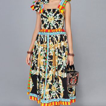 Another World Multicolor Floral Pattern Sleeveless Bow Trim A Line Casual Midi Dress