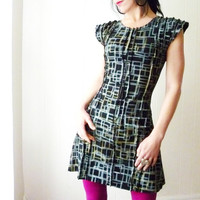 InFormation  - iheartfink Handmade Hand Printed Womens Artistic Dramatic Structured Tunic Mini Dress