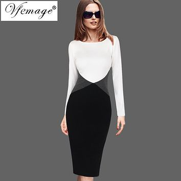 Vfemage Womens Autumn Winter Contrast Color-Block Patchwork Wear To Work Office Business Party Bodycon Pencil Sheath Dress 8302