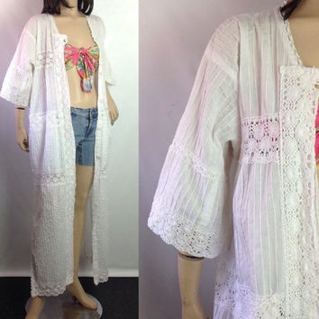 Crochet Duster White Mexican Wedding Dress Style Maxi Dress Coat Duster Pintucks and Crochet Big Pockets Button Front S small M medium L lg