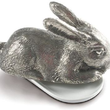 Rabbit Pewter Butter Dish